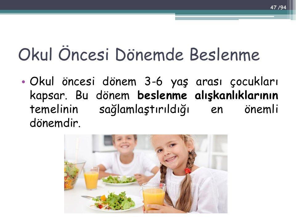 Okul Öncesi Dönemde Beslenme Okul öncesi dönem 3-6 yaş arası çocukları kapsar. Bu dönem beslenme alışkanlıklarının temelinin sağlamlaştırıldığı en öne