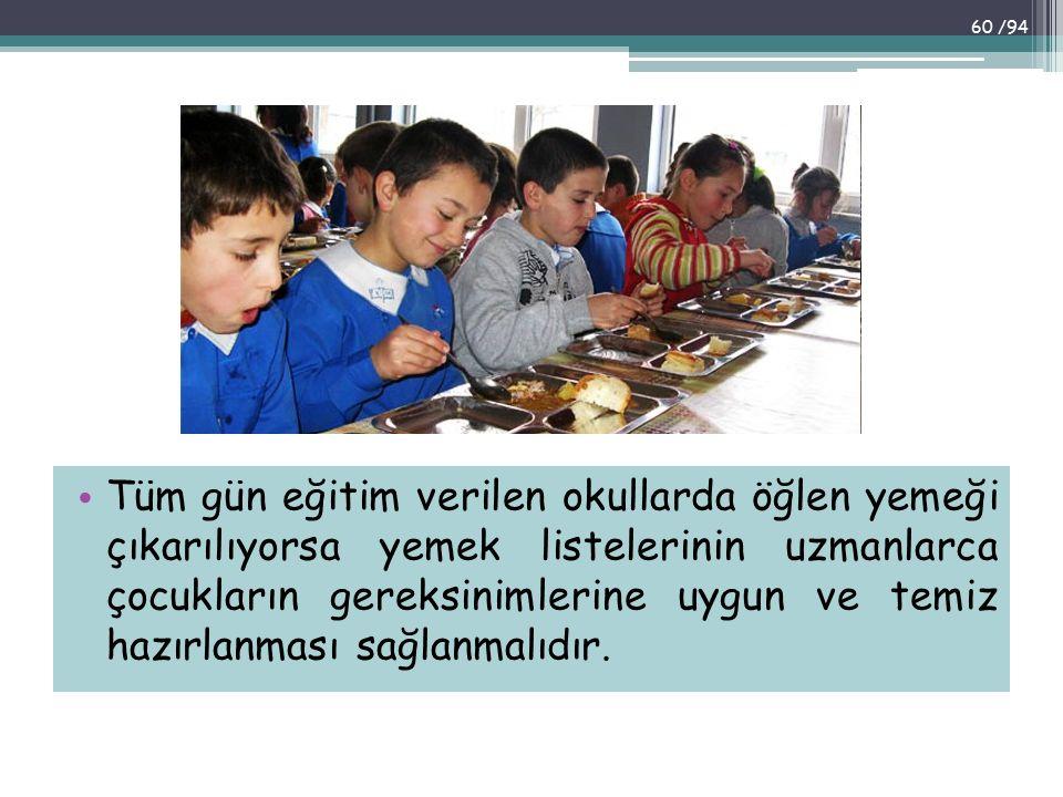 Tüm gün eğitim verilen okullarda öğlen yemeği çıkarılıyorsa yemek listelerinin uzmanlarca çocukların gereksinimlerine uygun ve temiz hazırlanması sağl