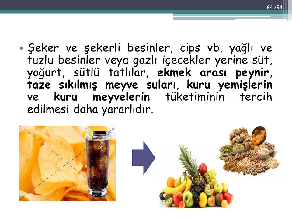 Şeker ve şekerli besinler, cips vb. yağlı ve tuzlu besinler veya gazlı içecekler yerine süt, yoğurt, sütlü tatlılar, ekmek arası peynir, taze sıkılmış