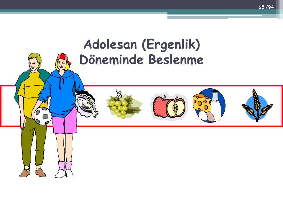 Adolesan (Ergenlik) Döneminde Beslenme 65 /94