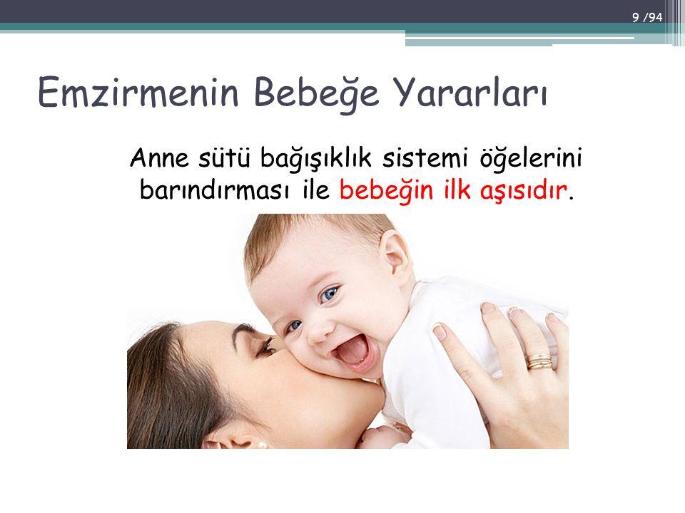 Emzirmenin Bebeğe Yararları Anne sütü bağışıklık sistemi öğelerini barındırması ile bebeğin ilk aşısıdır. 9 /94
