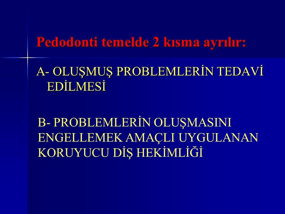 Pedodonti temelde 2 kısma ayrılır: A- OLUŞMUŞ PROBLEMLERİN TEDAVİ EDİLMESİ B- PROBLEMLERİN OLUŞMASINI ENGELLEMEK AMAÇLI UYGULANAN KORUYUCU DİŞ HEKİMLİ