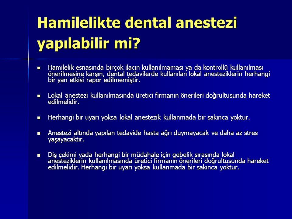 Hamilelikte dental anestezi yapılabilir mi? Hamilelik esnasında birçok ilacın kullanılmaması ya da kontrollü kullanılması önerilmesine karşın, dental