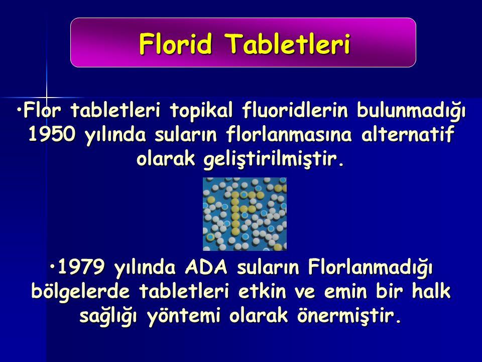 Florid Tabletleri Flor tabletleri topikal fluoridlerin bulunmadığı 1950 yılında suların florlanmasına alternatif olarak geliştirilmiştir.Flor tabletleri topikal fluoridlerin bulunmadığı 1950 yılında suların florlanmasına alternatif olarak geliştirilmiştir.