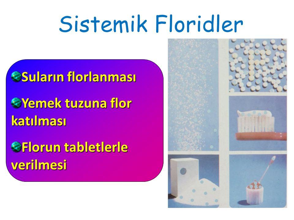 Sistemik Floridler Suların florlanması Yemek tuzuna flor katılması Florun tabletlerle verilmesi