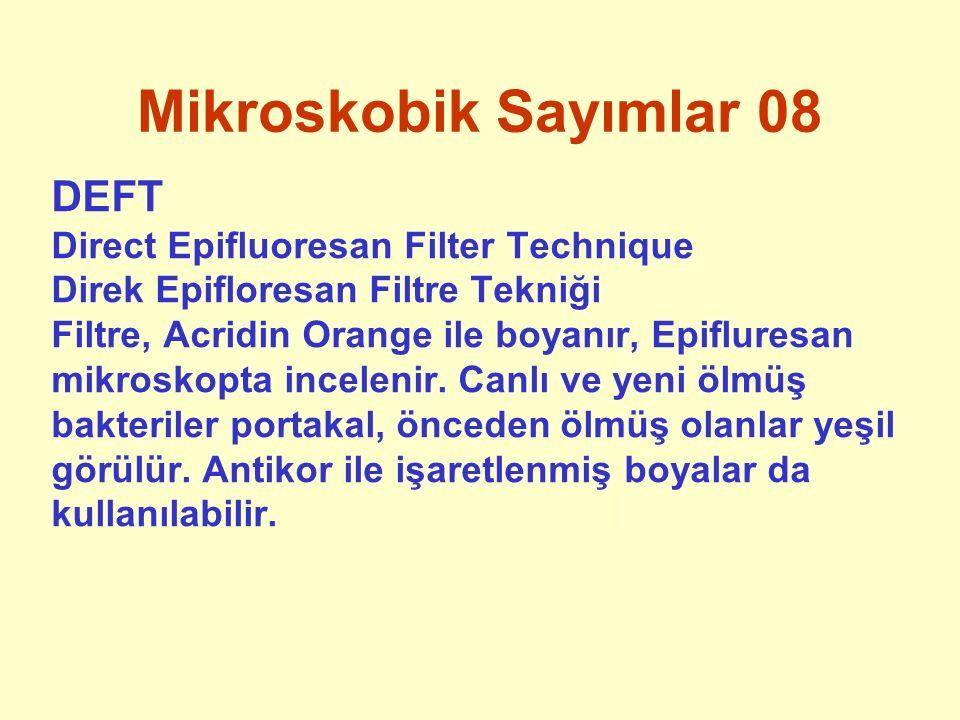 Mikroskobik Sayımlar 08 DEFT Direct Epifluoresan Filter Technique Direk Epifloresan Filtre Tekniği Filtre, Acridin Orange ile boyanır, Epifluresan mik
