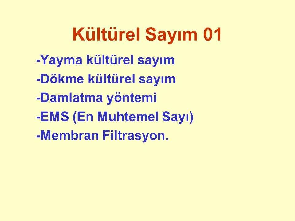Kültürel Sayım 01 -Yayma kültürel sayım -Dökme kültürel sayım -Damlatma yöntemi -EMS (En Muhtemel Sayı) -Membran Filtrasyon.