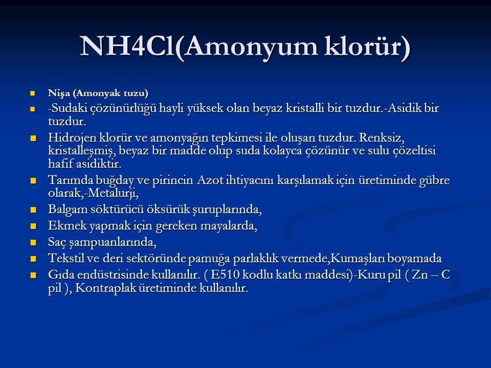 NH4Cl(Amonyum klorür) Nişa (Amonyak tuzu) Nişa (Amonyak tuzu) - Sudaki çözünürlüğü hayli yüksek olan beyaz kristalli bir tuzdur.-Asidik bir tuzdur. -