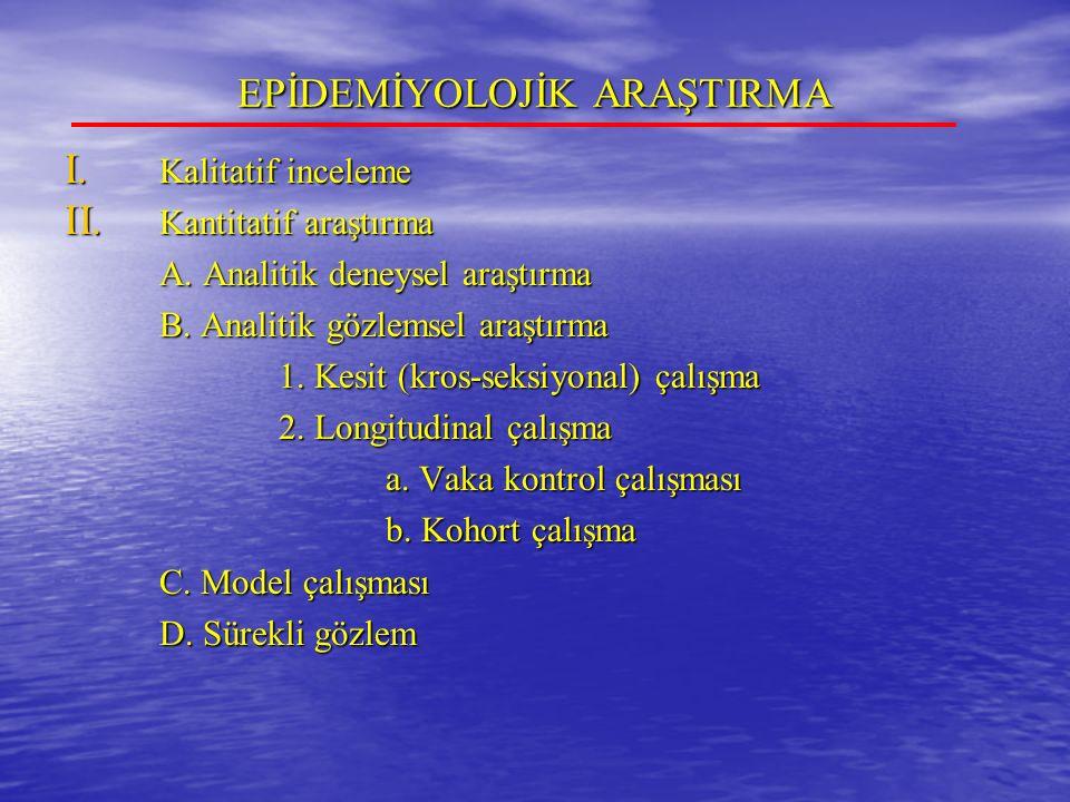 EPİDEMİYOLOJİK ARAŞTIRMA I.Kalitatif inceleme II.