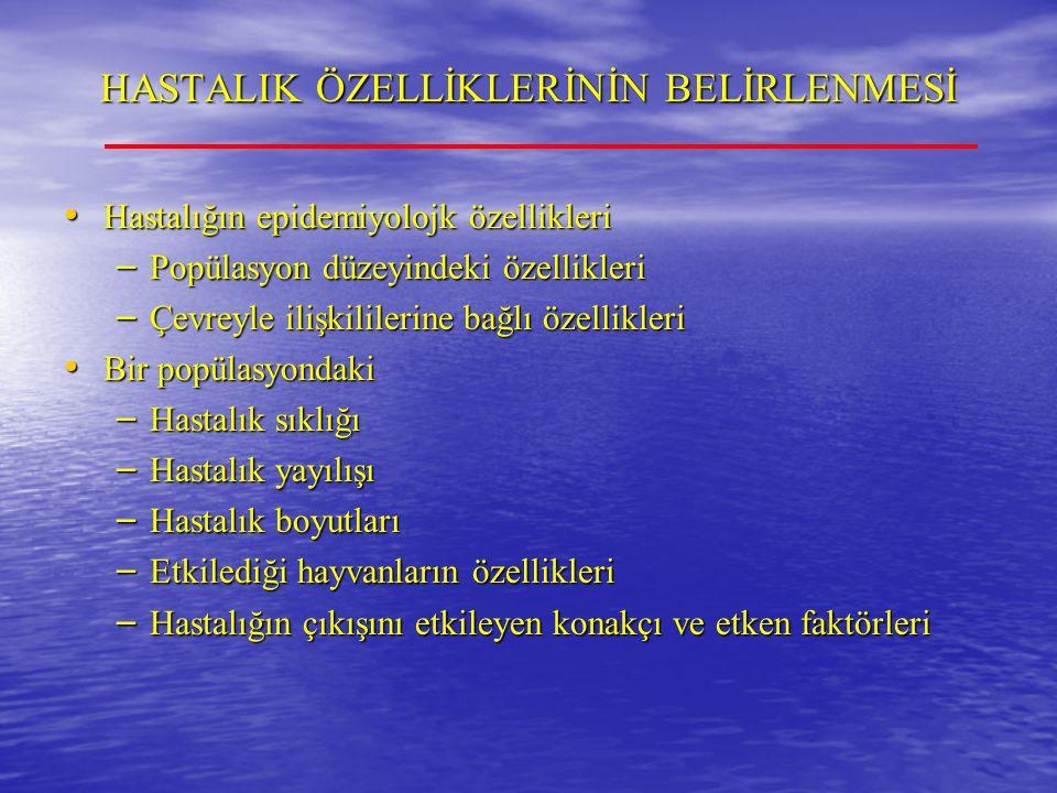 İNFEKSİYONLARIN BULAŞMASI ve YAYILMASI İnfeksiyonların Uzaklara Taşınması İnfeksiyonların Uzaklara Taşınması – Hayvan hareketleri Legal hayvan hareketleri (karantina) Legal hayvan hareketleri (karantina) İllegal hayvan hareketleri – Türkiye'e sığır vebası salgınları İllegal hayvan hareketleri – Türkiye'e sığır vebası salgınları Doğal göçler Doğal göçler – Biyolojik ürün ve fomitler Aşı ve serum gibi biyolojik ürünler Aşı ve serum gibi biyolojik ürünler Hayvansal yem hammaddeleri (BSE) Hayvansal yem hammaddeleri (BSE) – Rüzgar ve akarsu Şap hastalığında damlacık çekirdeği oluşması ve siper dalgası etkisi Şap hastalığında damlacık çekirdeği oluşması ve siper dalgası etkisi Portekiz'de görülen mavi-dil salgını, Kuzey Afrika'dan rüzgarla taşınan vektör sivrisinekler aracılığı ile oluşturulmuştur Portekiz'de görülen mavi-dil salgını, Kuzey Afrika'dan rüzgarla taşınan vektör sivrisinekler aracılığı ile oluşturulmuştur
