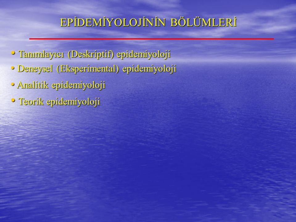 EPİDEMİYOLOJİNİN BÖLÜMLERİ Tanımlayıcı (Deskriptif) epidemiyoloji Tanımlayıcı (Deskriptif) epidemiyoloji Deneysel (Eksperimental) epidemiyoloji Deneysel (Eksperimental) epidemiyoloji Analitik epidemiyoloji Analitik epidemiyoloji Teorik epidemiyoloji Teorik epidemiyoloji