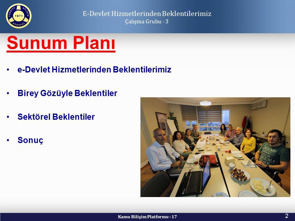 Kamu Bilişim Platformu - 17 2 Sunum Planı E-Devlet Hizmetlerinden Beklentilerimiz Çalışma Grubu - 3 e-Devlet Hizmetlerinden Beklentilerimiz Birey Gözü