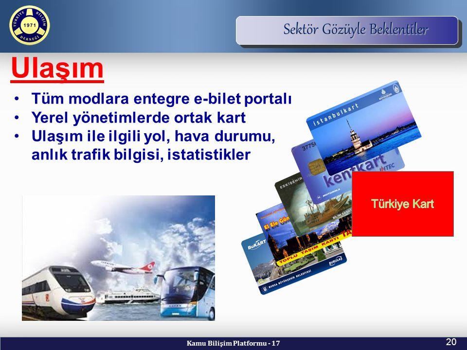 Kamu Bilişim Platformu - 17 20 TBD Vizyon ve Kuruluş Amacı Sektör Gözüyle Beklentiler Ulaşım Tüm modlara entegre e-bilet portalı Yerel yönetimlerde or