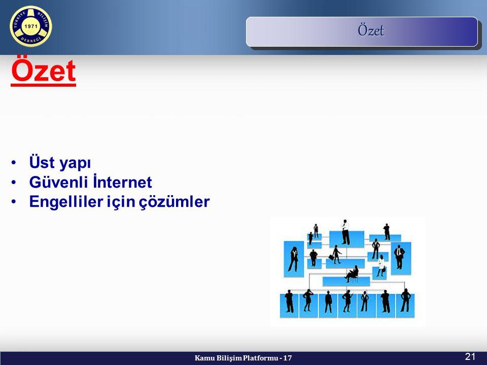 Kamu Bilişim Platformu - 17 21 TBD Vizyon ve Kuruluş Amacı Özet Özet Üst yapı Güvenli İnternet Engelliler için çözümler