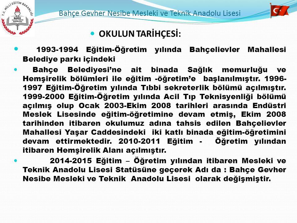 OKULUN TARİHÇESİ: 1993-1994 Eğitim-Öğretim yılında Bahçelievler Mahallesi Belediye parkı içindeki Bahçe Belediyesi'ne ait binada Sağlık memurluğu ve H