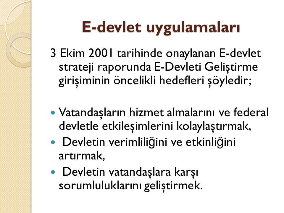 E-devlet uygulamaları 3 Ekim 2001 tarihinde onaylanan E-devlet strateji raporunda E-Devleti Geliştirme girişiminin öncelikli hedefleri şöyledir; Vatan