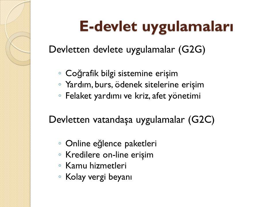 E-devlet uygulamaları Devletten devlete uygulamalar (G2G) ◦ Co ğ rafik bilgi sistemine erişim ◦ Yardım, burs, ödenek sitelerine erişim ◦ Felaket yardı
