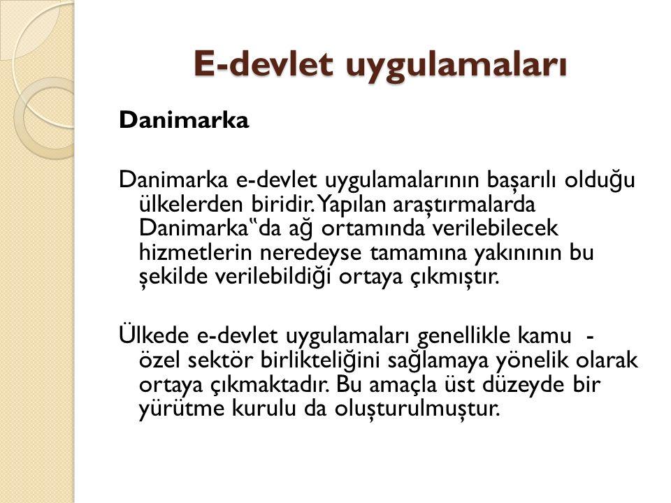 """E-devlet uygulamaları Danimarka Danimarka e-devlet uygulamalarının başarılı oldu ğ u ülkelerden biridir. Yapılan araştırmalarda Danimarka """" da a ğ ort"""