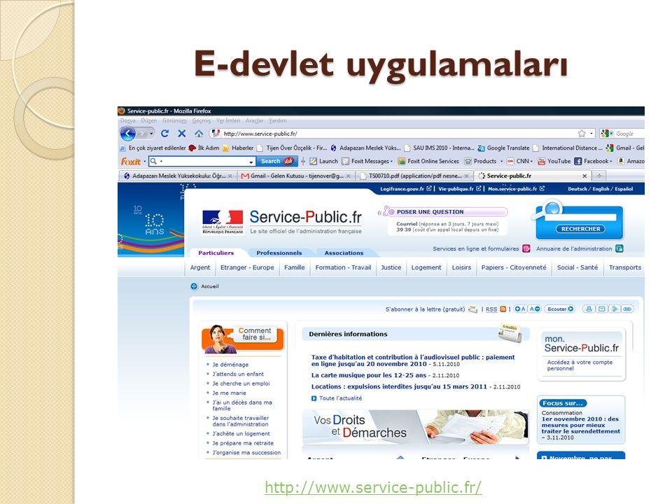 E-devlet uygulamaları http://www.service-public.fr/