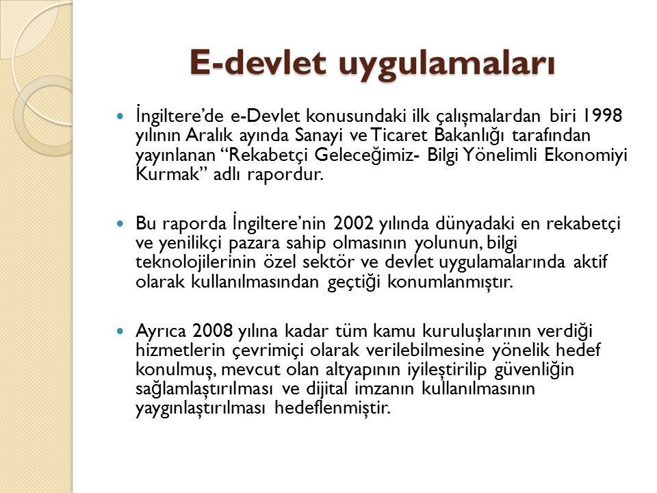 """İ ngiltere'de e-Devlet konusundaki ilk çalışmalardan biri 1998 yılının Aralık ayında Sanayi ve Ticaret Bakanlı ğ ı tarafından yayınlanan """"Rekabetçi Ge"""