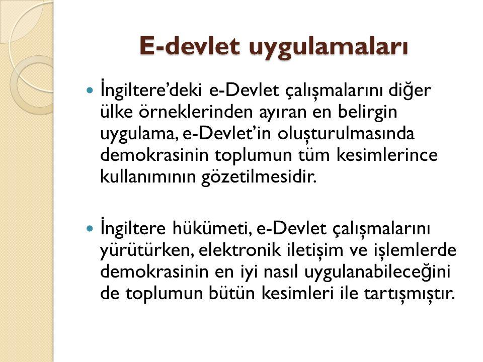 E-devlet uygulamaları İ ngiltere'deki e-Devlet çalışmalarını di ğ er ülke örneklerinden ayıran en belirgin uygulama, e-Devlet'in oluşturulmasında demo