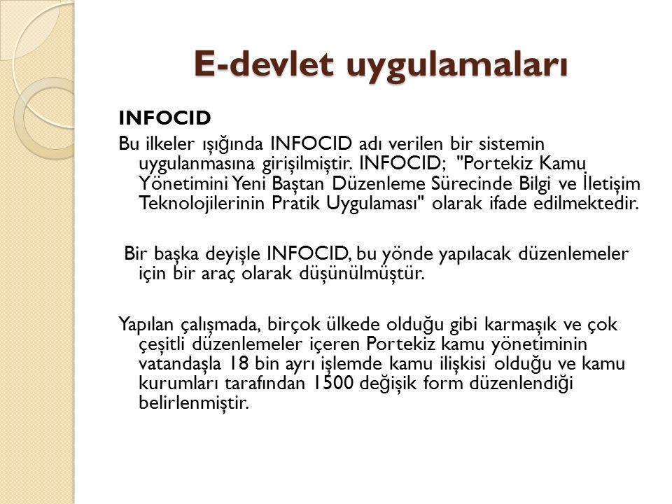 E-devlet uygulamaları INFOCID Bu ilkeler ışı ğ ında INFOCID adı verilen bir sistemin uygulanmasına girişilmiştir. INFOCID;