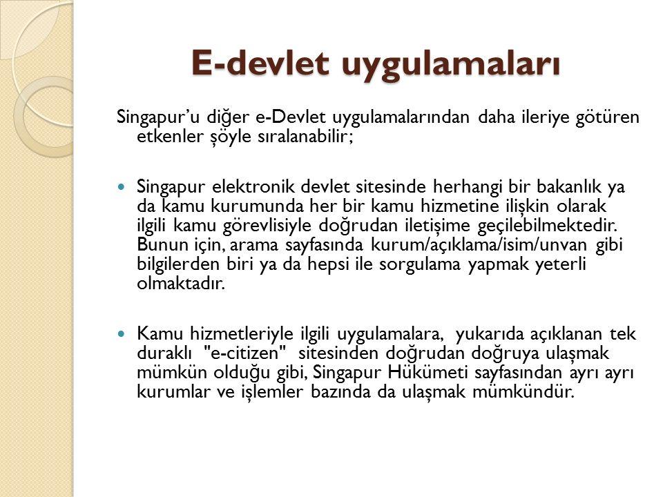 E-devlet uygulamaları Singapur'u di ğ er e-Devlet uygulamalarından daha ileriye götüren etkenler şöyle sıralanabilir; Singapur elektronik devlet sites