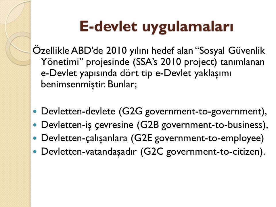 """E-devlet uygulamaları Özellikle ABD'de 2010 yılını hedef alan """"Sosyal Güvenlik Yönetimi"""" projesinde (SSA's 2010 project) tanımlanan e-Devlet yapısında"""