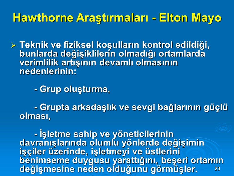 22 Hawthorne Araştırmaları - Elton Mayo  Western Elektric kuruluşunun Hawthorne fabrikalarında 1924-1932 yılları arasında yapılan araştırmalardır. 