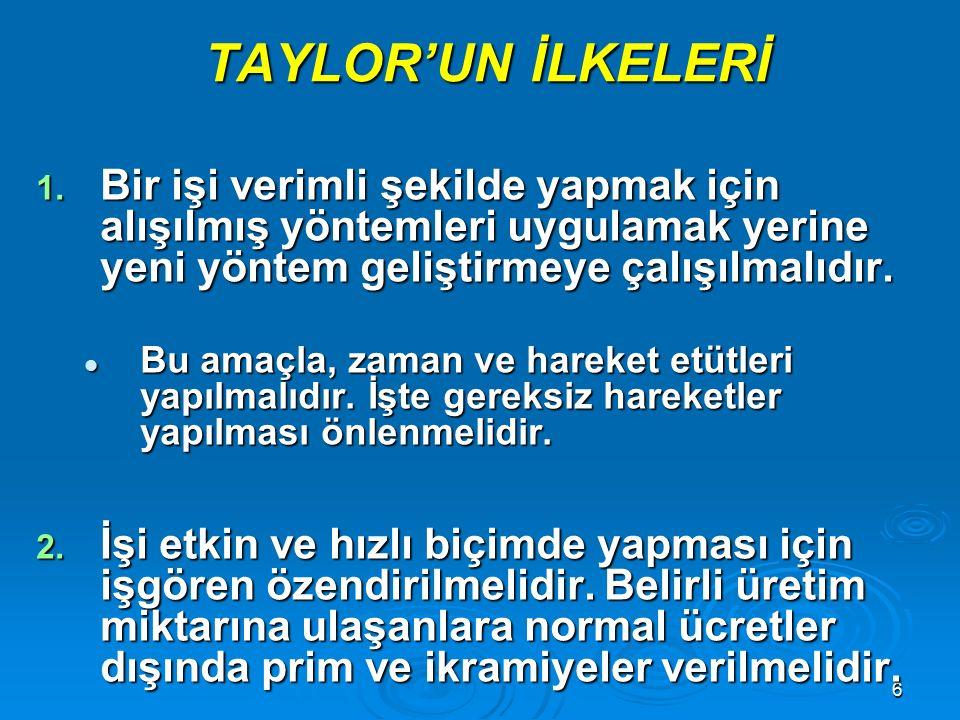 """5 KLASİK YÖNETİM  FREDERICK TAYLOR 1911 yılında """"BİLİMSEL YÖNETİM"""" adlı kitabını yayımlamış ve klasik yönetim yaklaşımını başlatmıştır. Taylor incele"""