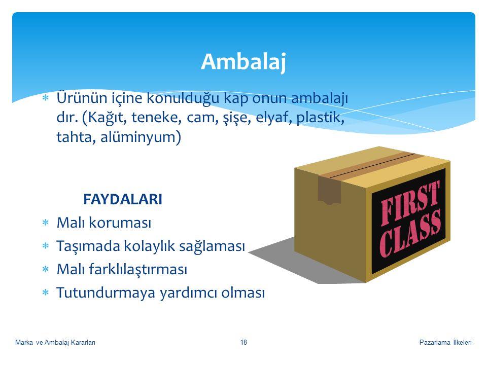 Pazarlama İlkeleri18 Ambalaj  Ürünün içine konulduğu kap onun ambalajı dır.