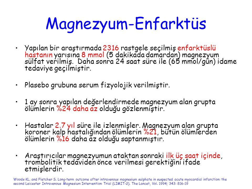 Magnezyum-Enfarktüs Yapılan bir araştırmada 2316 rastgele seçilmiş enfarktüslü hastanın yarısına 8 mmol (5 dakikada damardan) magnezyum sülfat verilmi