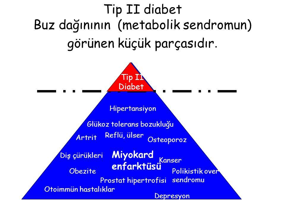 Tip II diabet Buz dağınının (metabolik sendromun) görünen küçük parçasıdır. Glükoz tolerans bozukluğu Tip II Diabet Prostat hipertrofisi Diş çürükleri