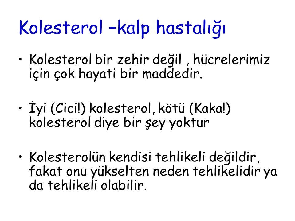 Kolesterol –kalp hastalığı Kolesterol bir zehir değil, hücrelerimiz için çok hayati bir maddedir. İyi (Cici!) kolesterol, kötü (Kaka!) kolesterol diye