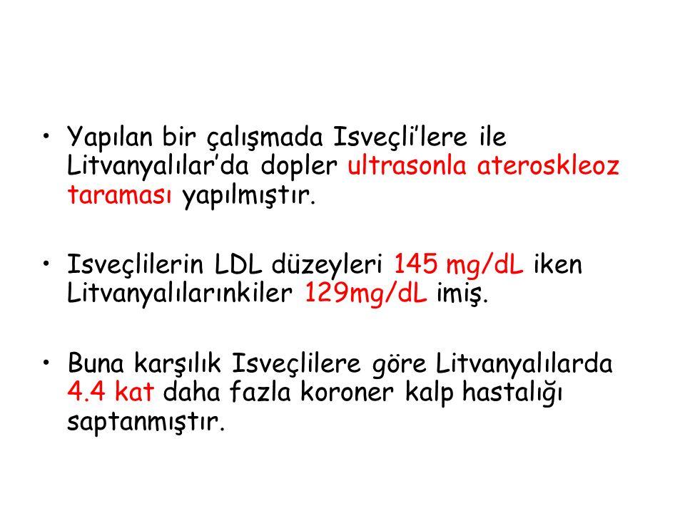 Yapılan bir çalışmada Isveçli'lere ile Litvanyalılar'da dopler ultrasonla ateroskleoz taraması yapılmıştır. Isveçlilerin LDL düzeyleri 145 mg/dL iken