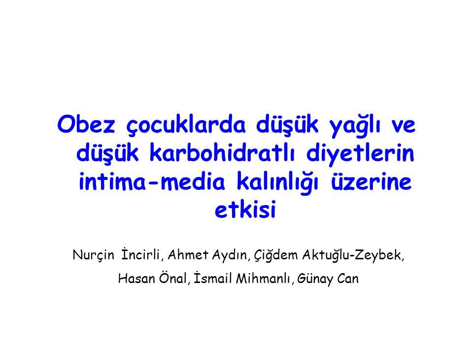 Obez çocuklarda düşük yağlı ve düşük karbohidratlı diyetlerin intima-media kalınlığı üzerine etkisi Nurçin İncirli, Ahmet Aydın, Çiğdem Aktuğlu-Zeybek