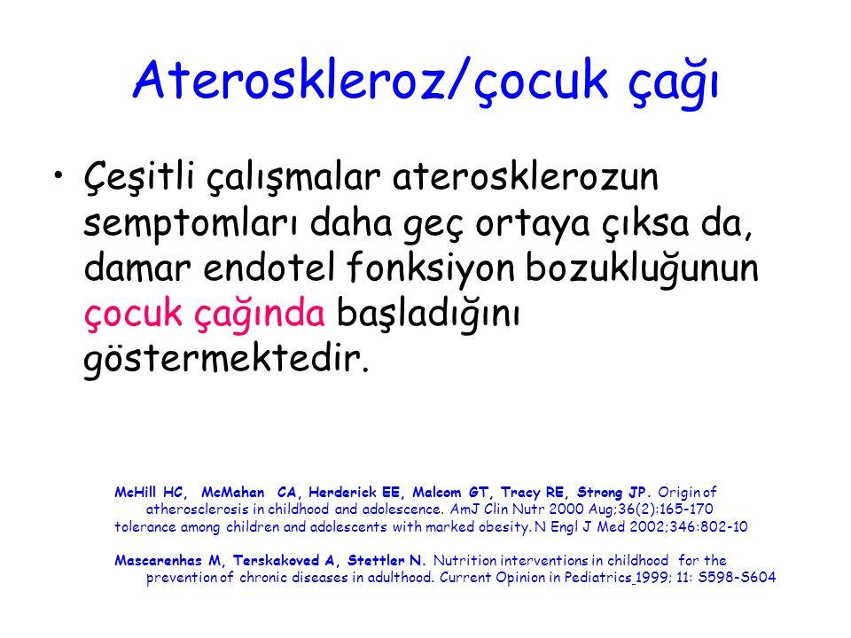 Ateroskleroz/çocuk çağı Çeşitli çalışmalar aterosklerozun semptomları daha geç ortaya çıksa da, damar endotel fonksiyon bozukluğunun çocuk çağında baş