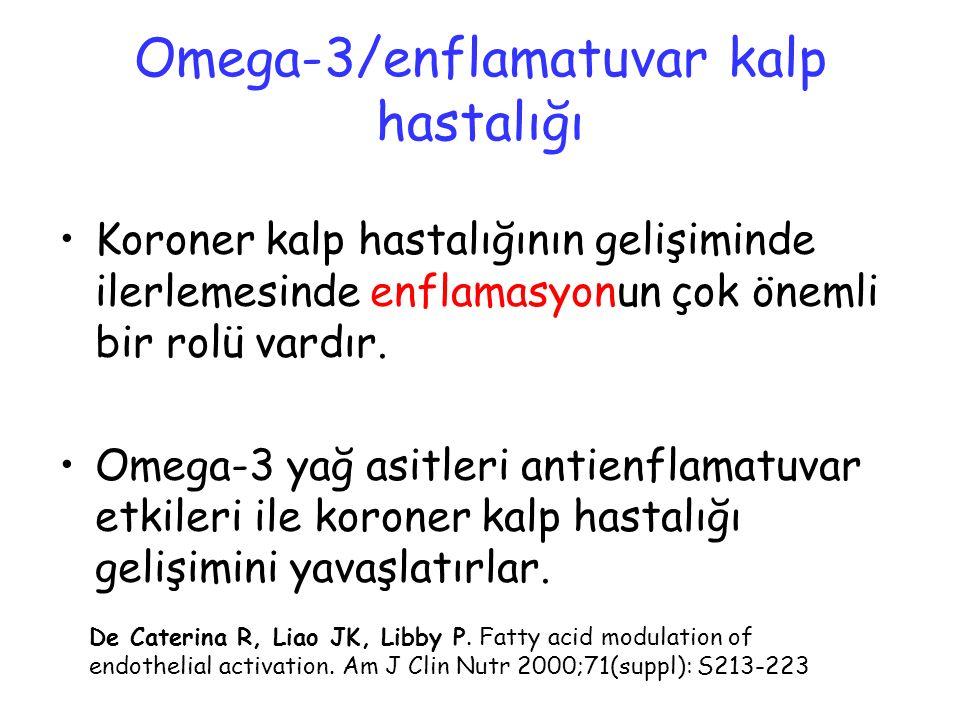Omega-3/enflamatuvar kalp hastalığı Koroner kalp hastalığının gelişiminde ilerlemesinde enflamasyonun çok önemli bir rolü vardır. Omega-3 yağ asitleri