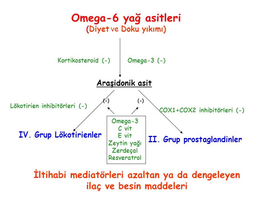 Araşidonik asit IV. Grup Lökotirienler Omega-6 yağ asitleri (Diyet ve Doku yıkımı) Omega-3 C vit E vit Zeytin yağı Zerdeçal Resveratrol (-) Kortikoste