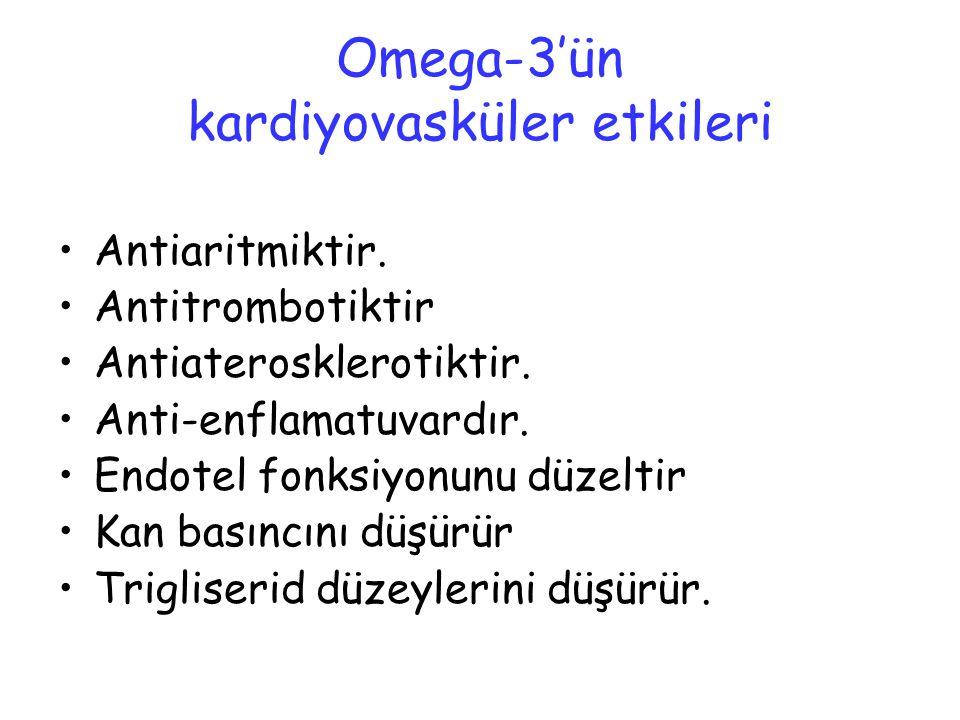 Omega-3'ün kardiyovasküler etkileri Antiaritmiktir. Antitrombotiktir Antiaterosklerotiktir. Anti-enflamatuvardır. Endotel fonksiyonunu düzeltir Kan ba