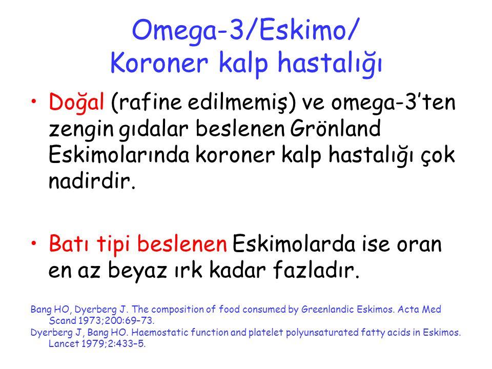 Omega-3/Eskimo/ Koroner kalp hastalığı Doğal (rafine edilmemiş) ve omega-3'ten zengin gıdalar beslenen Grönland Eskimolarında koroner kalp hastalığı ç