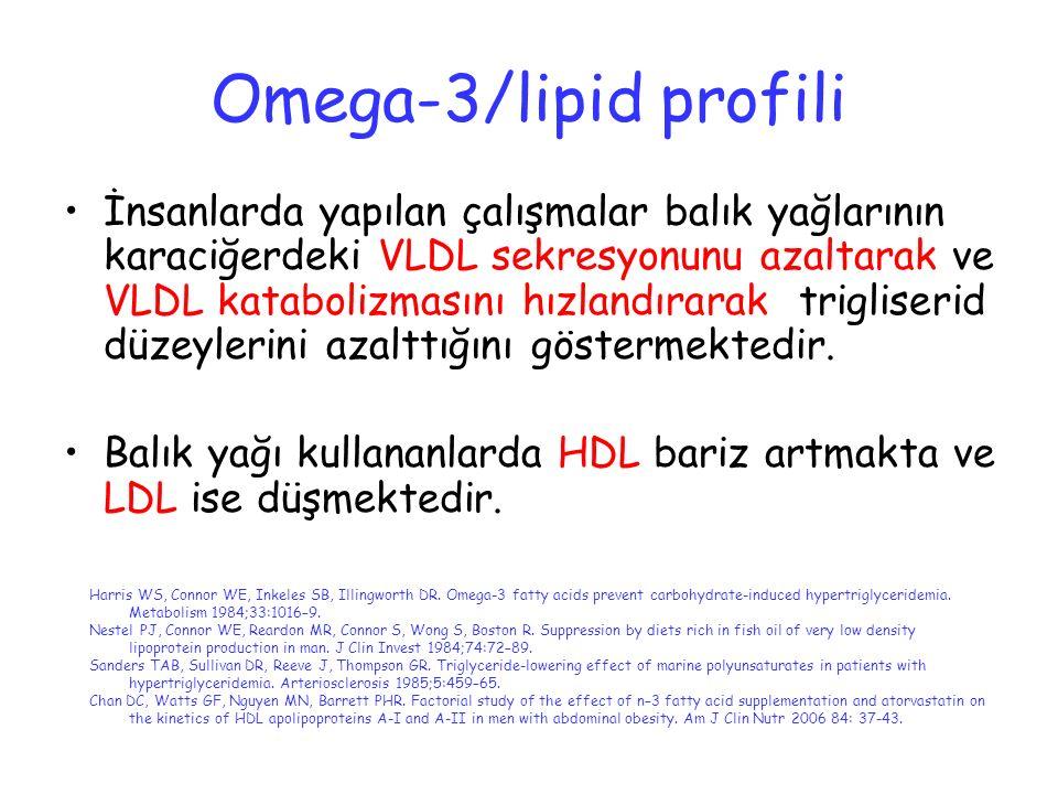Omega-3/lipid profili İnsanlarda yapılan çalışmalar balık yağlarının karaciğerdeki VLDL sekresyonunu azaltarak ve VLDL katabolizmasını hızlandırarak t