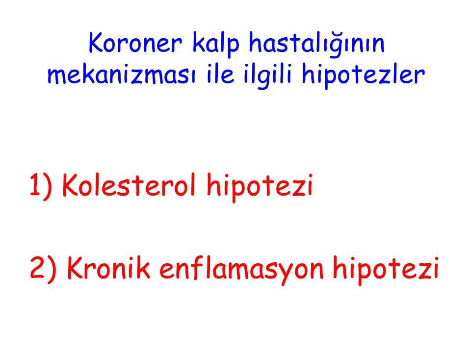 Koroner kalp hastalığının mekanizması ile ilgili hipotezler 1) Kolesterol hipotezi 2) Kronik enflamasyon hipotezi