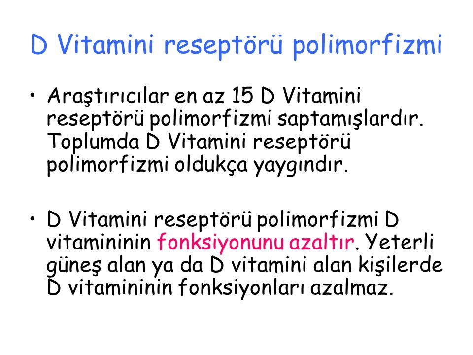 D Vitamini reseptörü polimorfizmi Araştırıcılar en az 15 D Vitamini reseptörü polimorfizmi saptamışlardır. Toplumda D Vitamini reseptörü polimorfizmi