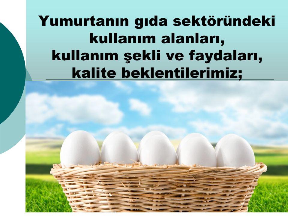 Yumurtanın gıda sektöründeki kullanım alanları, kullanım şekli ve faydaları, kalite beklentilerimiz;