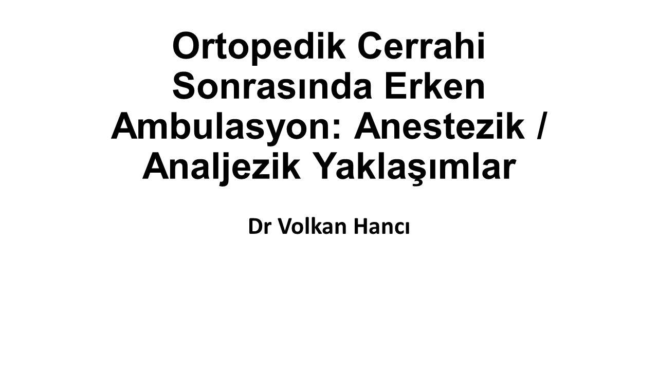 Ortopedik Cerrahi Sonrasında Erken Ambulasyon: Anestezik / Analjezik Yaklaşımlar Dr Volkan Hancı