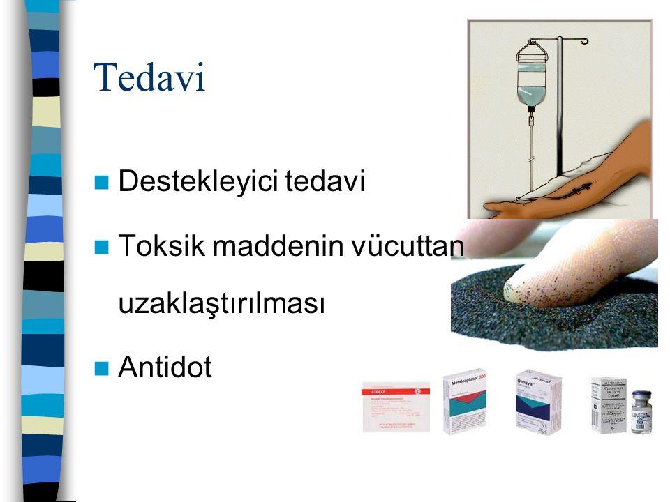 Tedavi Destekleyici tedavi Toksik maddenin vücuttan uzaklaştırılması Antidot