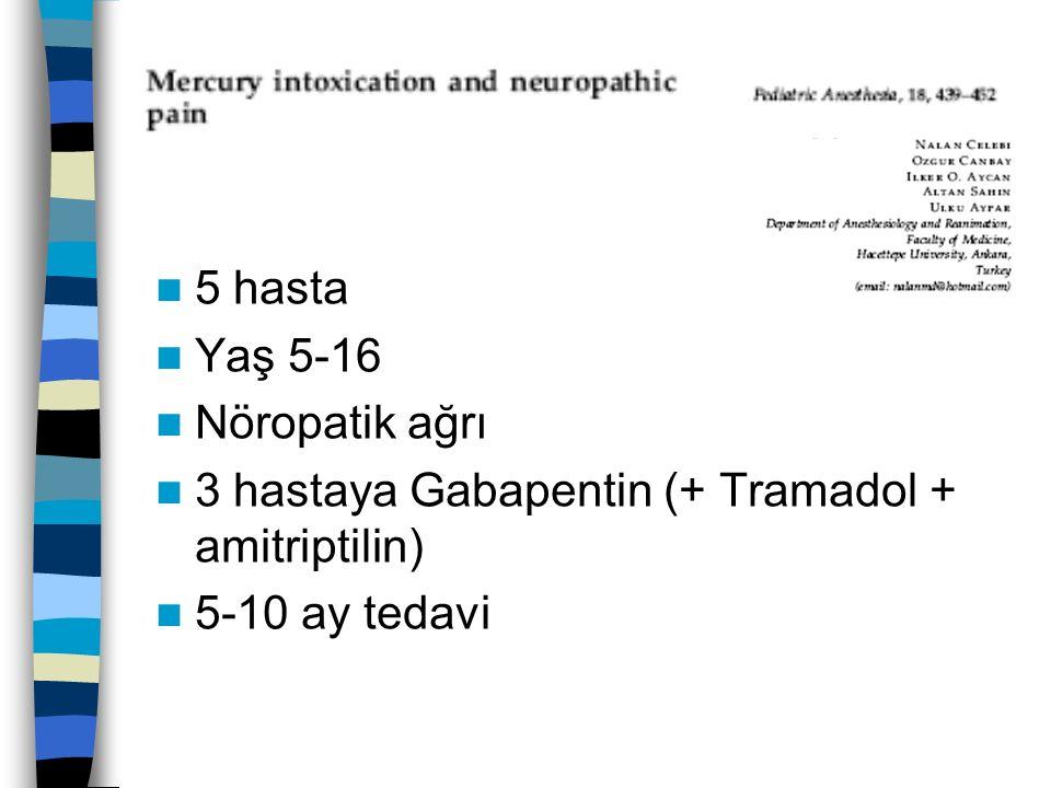 5 hasta Yaş 5-16 Nöropatik ağrı 3 hastaya Gabapentin (+ Tramadol + amitriptilin) 5-10 ay tedavi