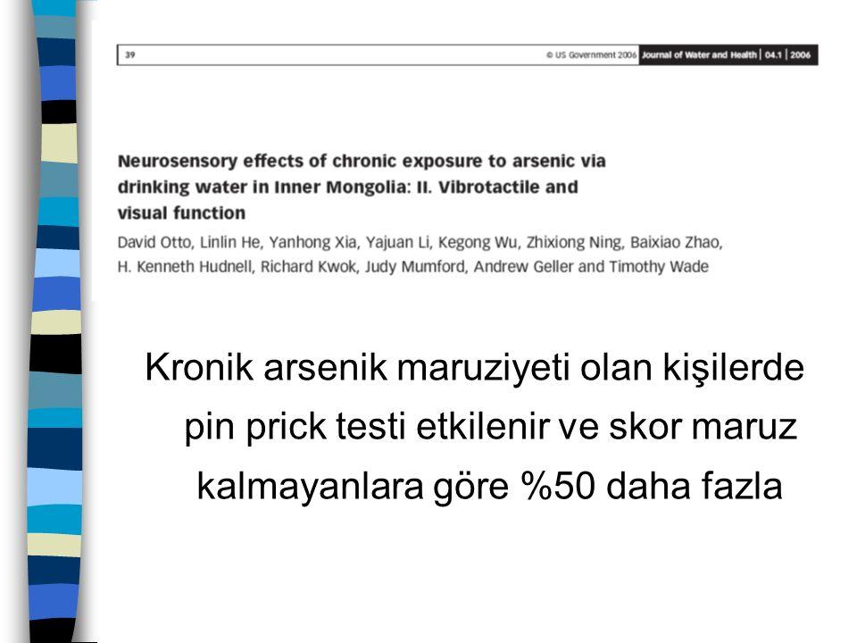 Kronik arsenik maruziyeti olan kişilerde pin prick testi etkilenir ve skor maruz kalmayanlara göre %50 daha fazla