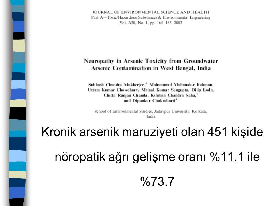 Kronik arsenik maruziyeti olan 451 kişide nöropatik ağrı gelişme oranı %11.1 ile %73.7